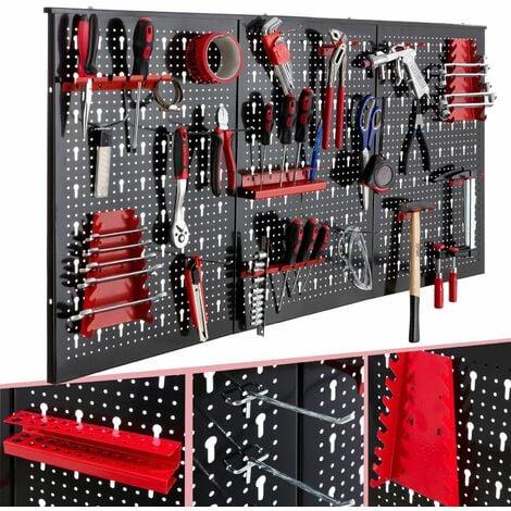 """main image of """"AREBOS Pared de herramientas Pared de taller 3 paredes perforadas juego de ganchos 17 - Negro / Rojo"""""""