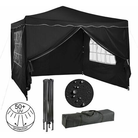 Arebos Pavillon pliable Tente de réception 3x3 m avec parois antracite - anthracite