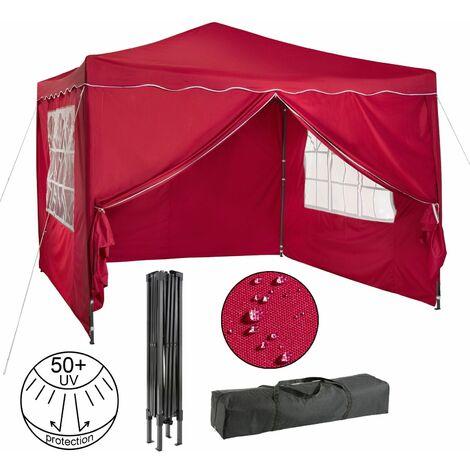 AREBOS Pavillon pliable Tente de réception 3x3 m avec parois rouge - rouge