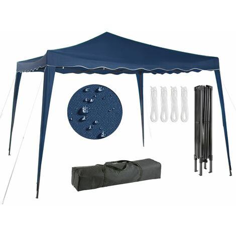 AREBOS Pavillon pliable Tente de réception pop-up Pavillon de 3x3m bleu - Bleu