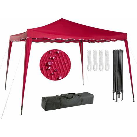 AREBOS Pavillon pliable Tente de réception pop-up Pavillon de 3x3m rouge - rouge