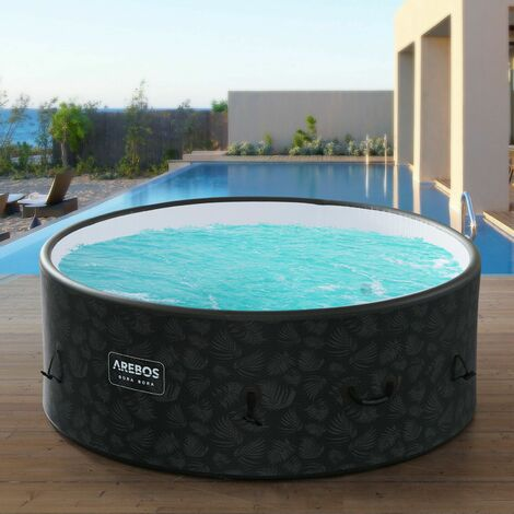 AREBOS Piscine Spa Pool | Gonflable | Chauffage | Exterieur | Ronde Drop-Stitch - Anthrazit