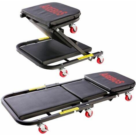 AREBOS Plataforma de Montaje con Ruedas 2 en 1 para hasta 150 kg Tumbona de Montaje - negro
