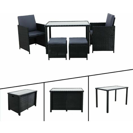 AREBOS Poly Rattan Garden Furniture Set of 5 Dining Furniture Chairs Black