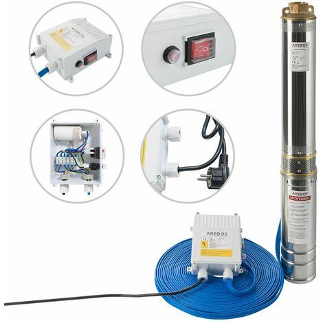 AREBOS Pompe de puits profond Submersible - 9000 l/h - 1100W - argent
