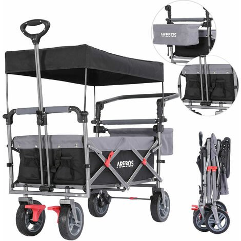 AREBOS Premium Hand Truck with Roof Collapsible Foldable Garden Trolley Black/Grey