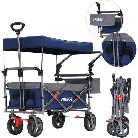 AREBOS Premium Hand Truck with Roof Collapsible Foldable Garden Trolley Blue/Grey