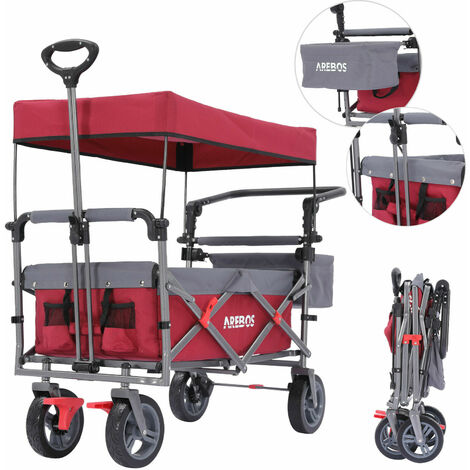 AREBOS Premium Hand Truck with Roof Collapsible Foldable Garden Trolley Red/Grey