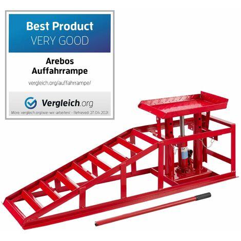 Arebos Rampa de acero para coche Elevador hidráulico de altura regulable Rampa 2 T