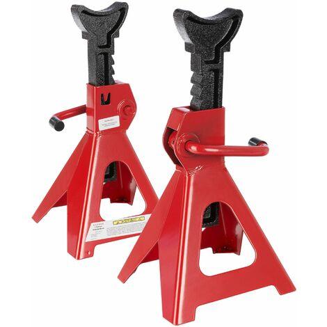 Arebos Set de 2 Elevadores de Coche Gato de Caballete para coche taller 3000kg - rojo