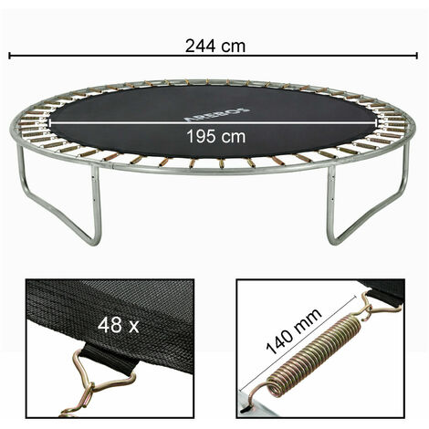 AREBOS Toile de trampoline Ø 195 cm pour trampoline de Ø 244 cm, pour 48 ressorts avec une longueur de 135 mm