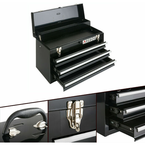 Arebos Tool Box 3 Drawers Tool Case Tool Chest Tool Kit Black