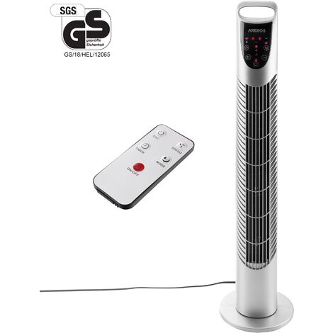 AREBOS Tower Fan Standing Fan Oscillating 3 Speed Home Portable 40W with remote control Silver