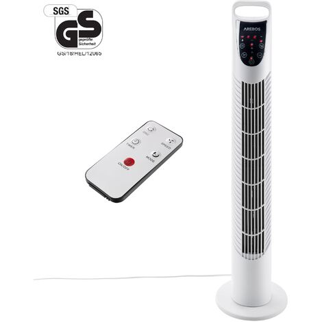 AREBOS Tower Fan Standing Fan Oscillating 3 Speed White Home Portable 40W with remote control