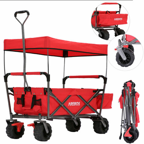 AREBOS Utility Wagon Foldable with Roof Hand Trolley Equipment Trolley Red - red