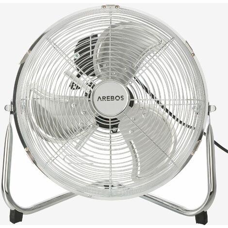 AREBOS Ventilateur de sol Ventilateur Souffleur Brasseur d'air 55W 12 Pouces - argent