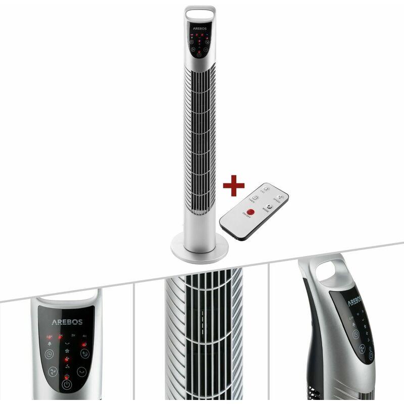 Ventilatore a torre 40 W Ventola a colonna Ventilatore su piedistallo con telecomando Argento Arebos
