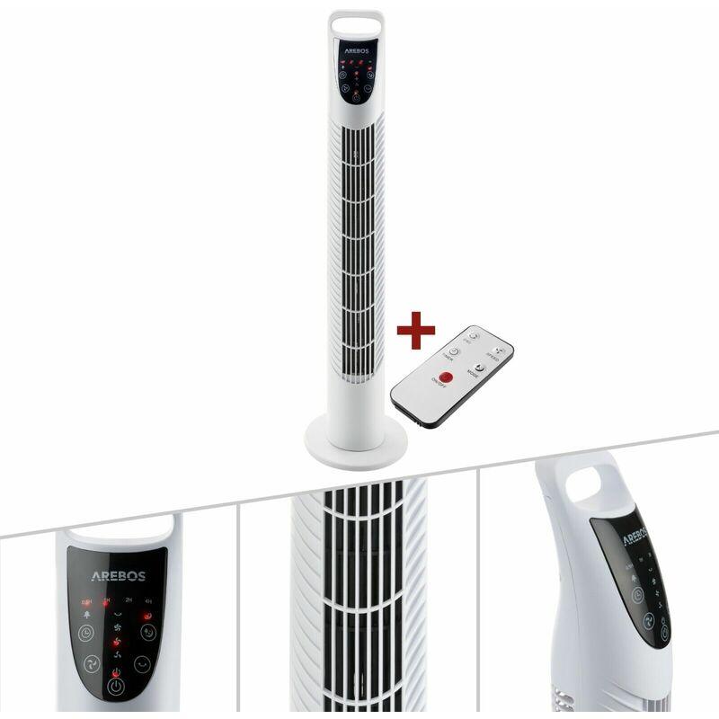 Ventilatore a torre 40 W Ventola a colonna Ventilatore su piedistallo con telecomando Bianco Arebos