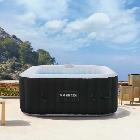 AREBOS Whirlpool Spa Pool Wellness Heating Massage Inflatable In-Outdoor Square 550L - schwarz