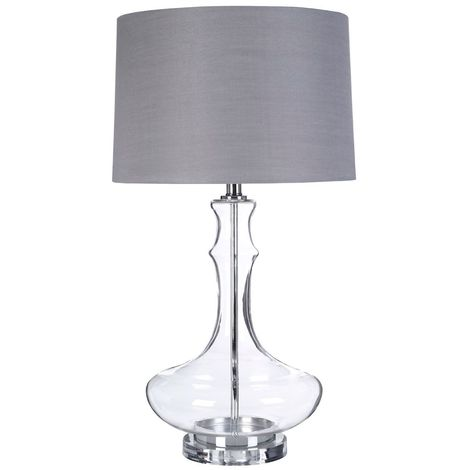 Areli Table Lamp, Glass / Metal, Silver Silk Shade