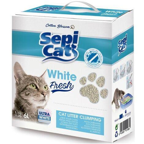 Arena para gatos 6 litros | Arena absorbente Sepicat White Fresh | Arena absorbente para mascotas