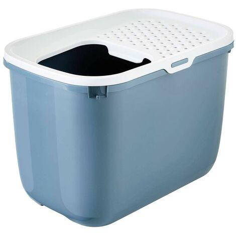 Arenero cubierto para gatos Cubo Hop In | Bandeja de arena con entrada superior | Caja de arena WC para gatos