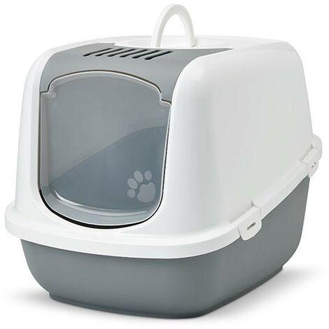 Arenero cubierto para gatos Nestor Jumbo | Bandeja de arena grande | Caja de arena WC para gatos