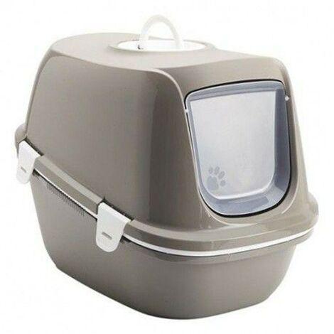 Arenero cubierto para gatos Reina | Bandeja de arena grande | Caja de arena WC para gatos con colador
