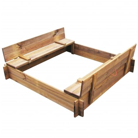 Arenero de jardín para niños cuadrado de madera impregnada