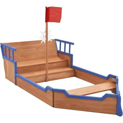 Arenero en forma de barco pirata madera de abeto 190x94,5x136cm