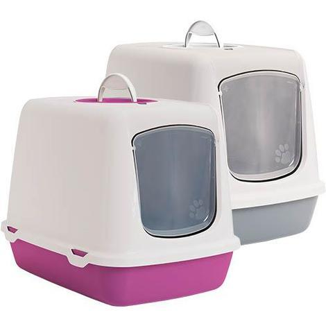 Arenero Gatos Oscar, para aseo higiénico, puerta abatible translúcida, disponible en varios colores