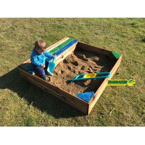 Arenero infantil con cajón y banco 150x150 cm