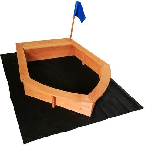Arenero niños forma barco madera 150x108x50cm Zona juegos infantil Jardín Jugar Aire libre Terraza