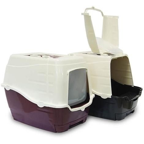 Arenero para Gatos Frontal Abatible puerta batiente y asa de transporte medidas 48x37x41(alt.)cm. incluye filtro de carbón y paleta