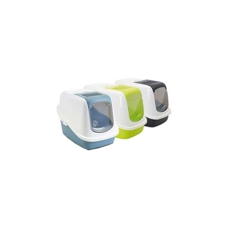 Arenero WC Gatos Nestor Puerta Abatible, diseño cerrado, asa y filtro integrados, topes antideslizantes, disponible en varios colores