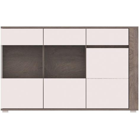 ARES | Commode avec LED design moderne chambre salon | 150x85x40 cm | Meuble de rangement Buffet Enfilade | Aspect bois + Gloss - Chêne/Blanc