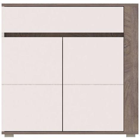 ARES | Commode design moderne chambre salon | 103.5x85x40 cm | Meuble de rangement Buffet Enfilade | Aspect bois + Gloss | Chêne/Blanc