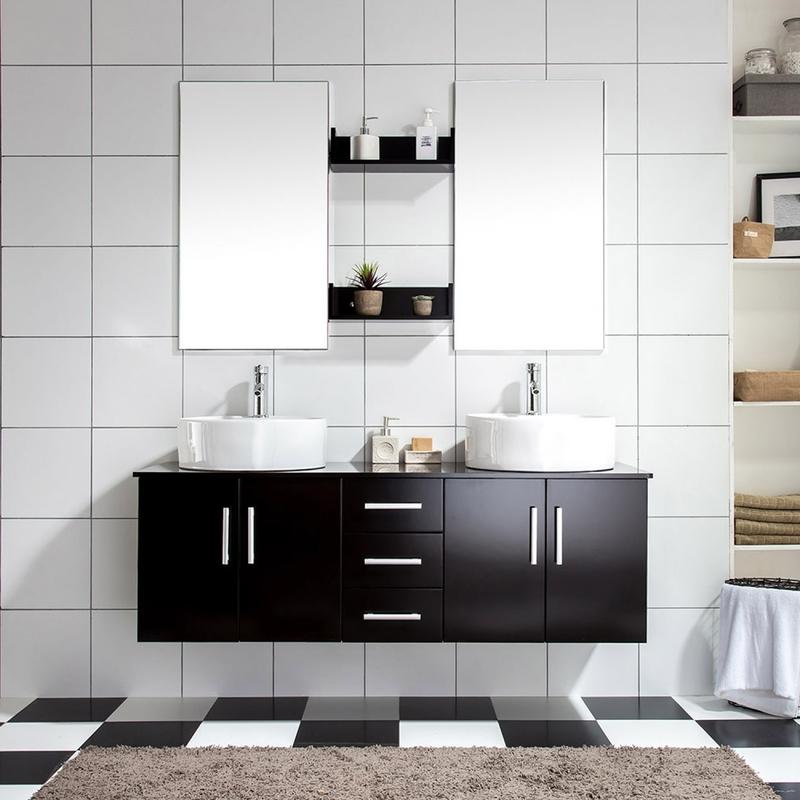 Ares wenge ensemble salle de bains meuble 2 vasques 2 - Meuble 2 vasques salle de bain ...