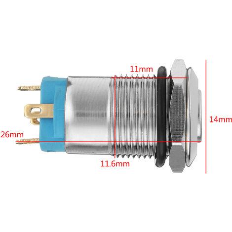 Argent 12mm LED bouton poussoir en métal interrupteur de verrouillage 4Pin interrupteur à bouton poussoir étanche nouveauté blanc