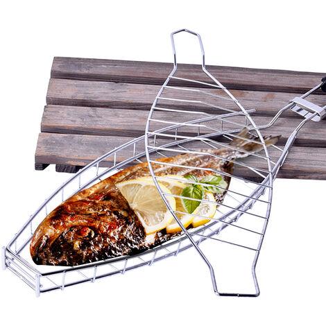 Argent KW3007 Panier a poisson grille en acier inoxydable Filet a poisson grille BBQ Poignee en bois Filet a poisson grille