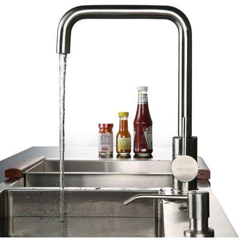 Argent Robinet de Cuisine Brossé en Forme 7 Mitigeur pour Lavabo à 360° Acier Inoxydable SUS304 Eviers de Cuisine avec l'Eau ABS Barboteur 2 Ans de Garantie