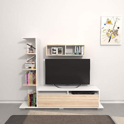 Argo TV Stand - with Integrated Bookcase, Shelf, Shelves - for Living Room - White, Sonoma made of Wood, 150 x 28,5 x 125 cm