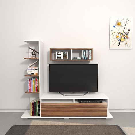 Argo TV Stand - with Integrated Bookcase, Shelf, Shelves - for Living Room - White, Wood made of Wood, 150 x 28,5 x 125 cm