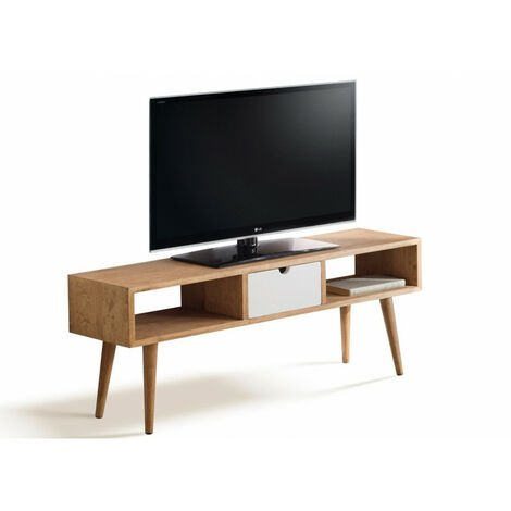 Argos - Mesa Television, Mueble Tv Salon Diseño Vintage, Cajon Y Huecos, Madera Maciza Natural. 110 X 40 X 30 Cm.