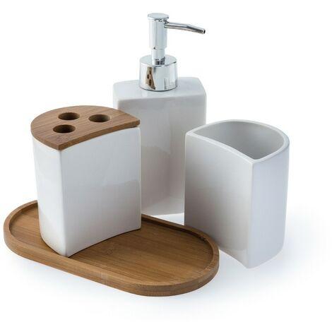 Aria 4pc Bathroom Accessory Set - White