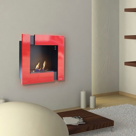 Ariadna Rouge Et Noir Une Cheminee Bio Ethanol Murale Moderne Et