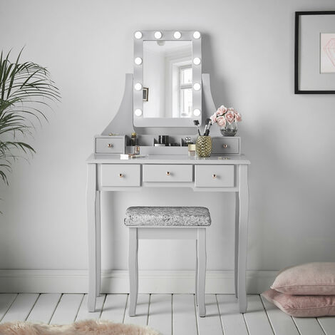 Arianna Deluxe Grey Dressing Table with Hollywood Bulbs LED Lights Vanity Mirror Stool 5 Drawers Bedroom Set