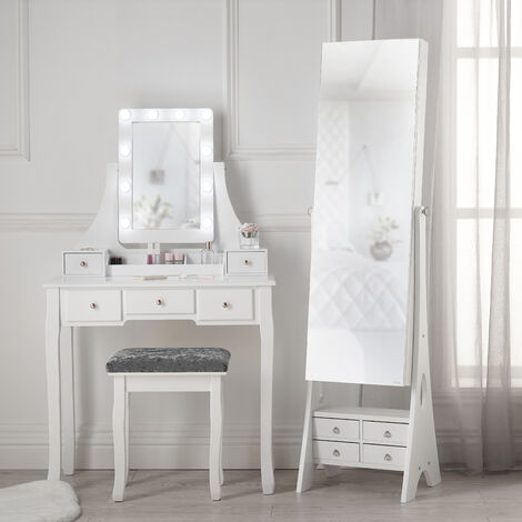 Arianna Deluxe x Nikita Set White Dressing Table with Hollywood bulbs Mirror Jewellery Cabinet Makeup Storage