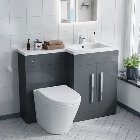 Aric 1100 mm Grey Right Hand Basin Vanity Cabinet and WC Toilet Pan with Seat