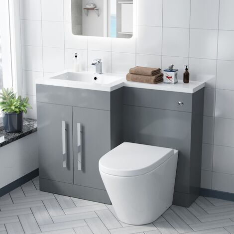 Aric 1100mm LH Bathroom Basin Combination Vanity Unit Light Grey and Ellis Back To Wall WC Toilet